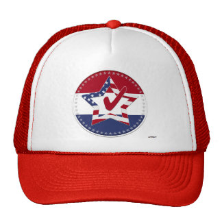 Star with US Flag Red Check 50 Stars - round Hat