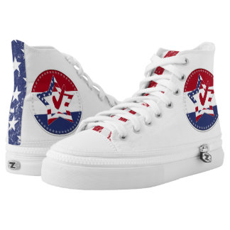 Star with US Flag, Red Check and 50 Stars Printed Shoes