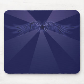 Star with Wings Blue Mouse Pad