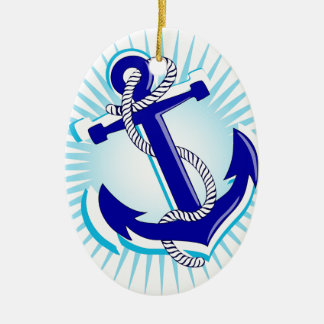Starburst Anchor Ceramic Oval Decoration