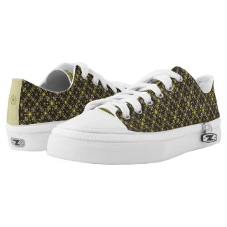 Starburst and Lines Mid Century Pattern Earth Hues Low Tops