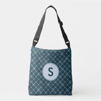 Starburst and Lines Pattern Blue Monogrammed Tote Bag