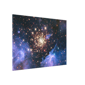 Starburst Cluster Shows Celestial Fireworks Stretched Canvas Prints