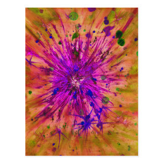 Starburst orange, pink and green abstract art postcard