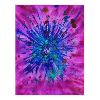 Starburst pink, blue & purple abstract art postcard