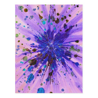 Starburst purple, blue and pink abstract art postcard