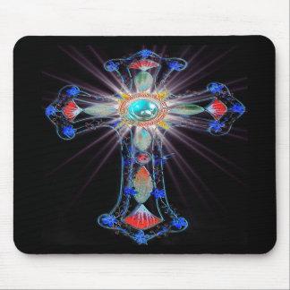 Starburst religious cross mouse mat