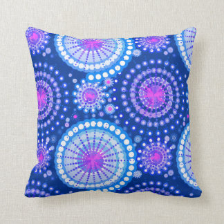 Starbursts and pinwheels, cerulean blue & white pillow