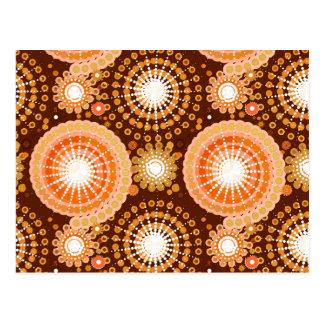 Starbursts and pinwheels, chocolate brown & tan postcard