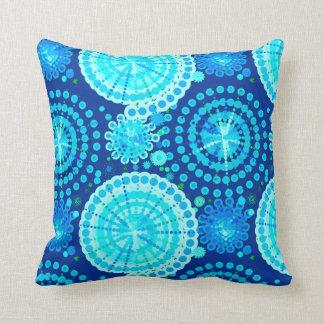 Starbursts and pinwheels, cobalt blue and aqua throw pillow