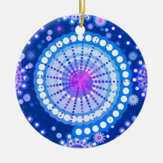 Starbursts and pinwheels, cobalt blue & white christmas tree ornament