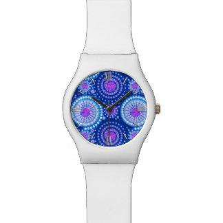 Starbursts and pinwheels, cobalt blue & white watches
