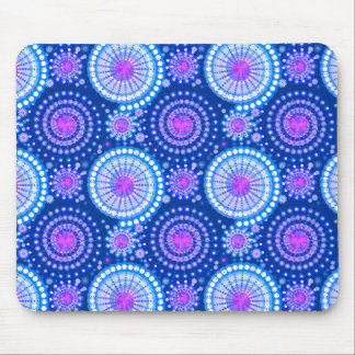 Starbursts and pinwheels, cobalt blue & white mouse pads