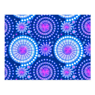 Starbursts and pinwheels, cobalt blue & white postcard