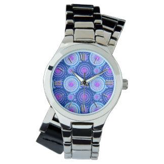 Starbursts and pinwheels, cobalt blue & white wrist watch