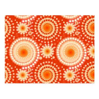 Starbursts and pinwheels, mandarin orange postcard