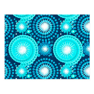 Starbursts and pinwheels, navy and turquoise postcard