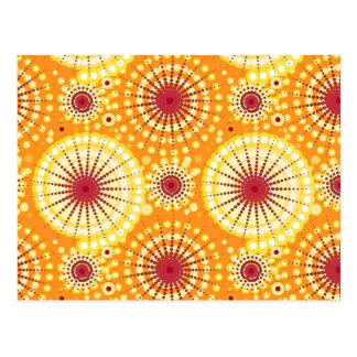 Starbursts and pinwheels, saffron and raisin postcard