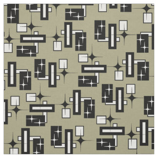 Stardust Retro Geometric Black and White Fabric
