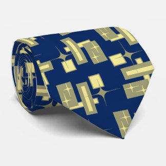 Stardust Retro Geometric Navy Single-sided Tie
