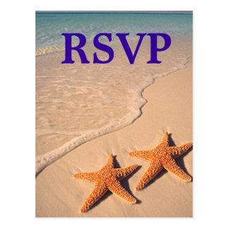 Starfish and Beach Theme Wedding RSVP Postcard