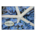 Starfish and Blue Hydrangea Wedding Thank You Note Card