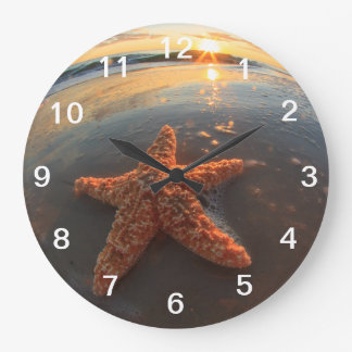 Starfish and Bubbles at Sunset Large Clock