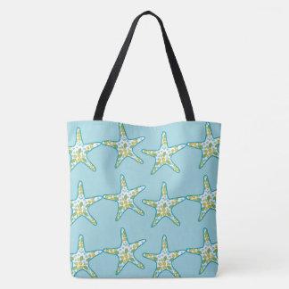 Starfish and floral pattern aqua summer beach tote bag