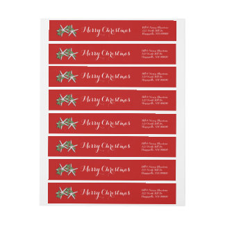 Starfish and Holly Red Wrap Around Label