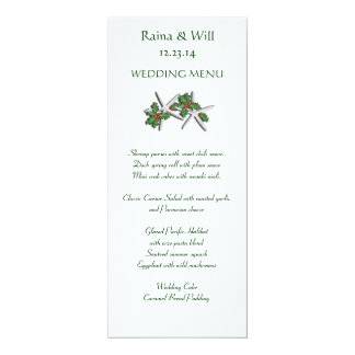 Starfish and Holly Tall, Christmas Wedding Menu Card