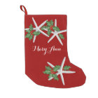 Starfish and Holly Tropical Christmas Stocking