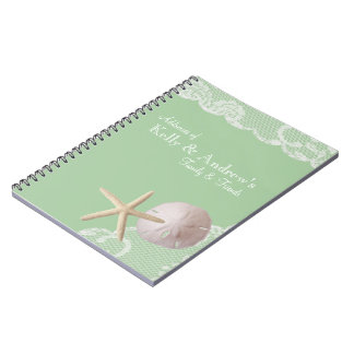 Starfish and Lace Beach Green Notebooks