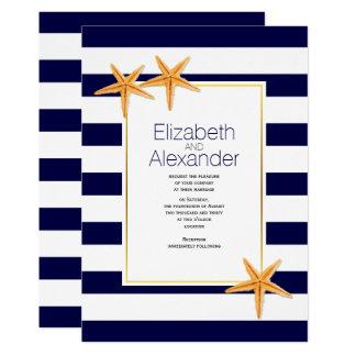 Starfish and navy blue white stripes beach wedding 13 cm x 18 cm invitation card