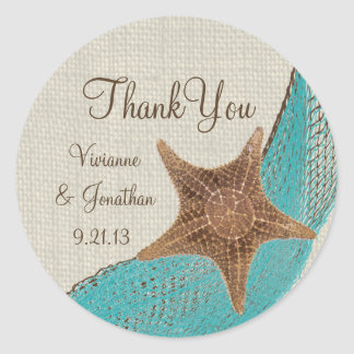 Starfish and Netting Classic Round Sticker
