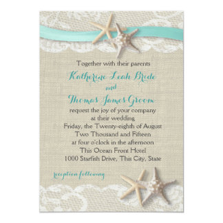 Starfish and Ribbon Beach Aqua 13 Cm X 18 Cm Invitation Card