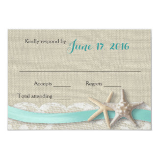 Starfish and Ribbon Beach Aqua RSVP 9 Cm X 13 Cm Invitation Card