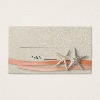 Starfish and Ribbon Place card Coral