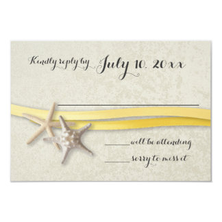 Starfish and Ribbon Yellow Beach Response Card