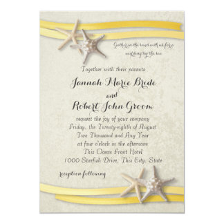 Starfish and Ribbon Yellow Beach Wedding Card