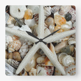 Starfish and Seashell Square Wall Clock