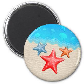 Starfish And Seashells 6 Cm Round Magnet