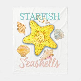 Starfish and Seashells Design with Words Fleece Blanket