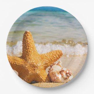 Starfish and Seashells on the Beach Paper Plate