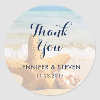 Starfish and Seashells on the BeachThank You Classic Round Sticker