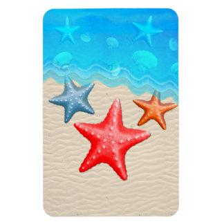 Starfish And Seashells Rectangular Photo Magnet