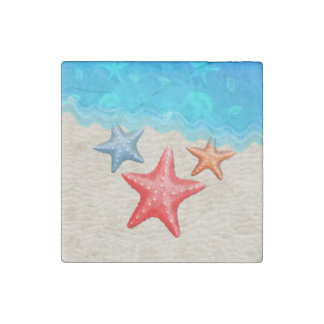 Starfish And Seashells Stone Magnet