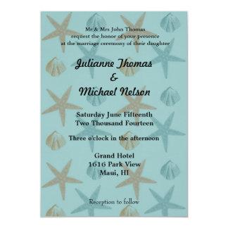 "Starfish and Shells 5"" X 7"" Invitation Card"