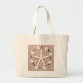 Starfish and shells pentagram large tote bag