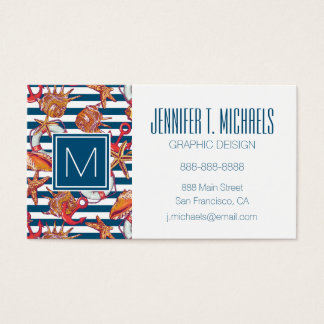 Starfish And Stripes Pattern Business Card