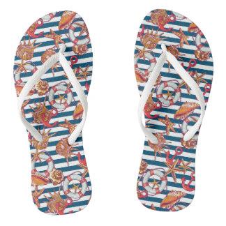 Starfish And Stripes Pattern Flip Flops
